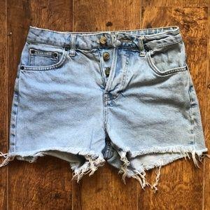 TOPSHOP denim cut off shortsfrayed